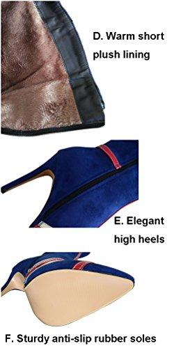 Talla plisadas Ante 43 Botas Mujer Azul Color de HiTime 8Uw0xq5tq