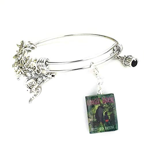 THE JUNGLE BOOK Rudyard Kipling Clay Mini Book Stainless Steel Expandable Bangle -