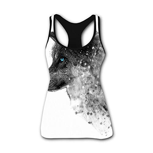 (Blue-Eyed Wolf with Ink Stretch Casual Tank Tops for Activewear Workout and Yoga)