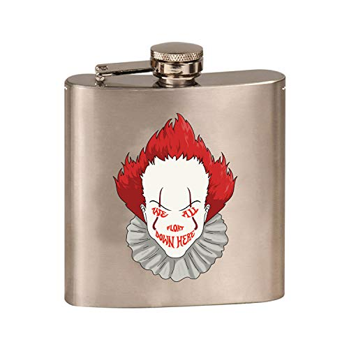 We All Float Down Here Horror Movie Clown - 3D Color Printed 6 oz. Stainless Steel Flask (Steel Silver)]()