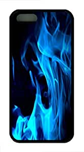iPhone 5S Case and Cover Blue Flames TPU Silicone Rubber Case Cover for iPhone 5 and iPhone 5s Black