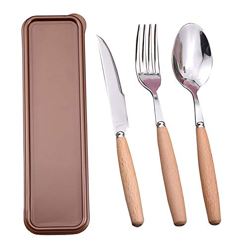 (Portable Utensils Set with Case,Reusable Office Flatware Silverware Set,Healthy & Eco-Friendly 3pc Stainless Steel&Wood Full Size Fork, Spoon,Knife Cutlery Ideal for Travel, Lunch Box and Camping)