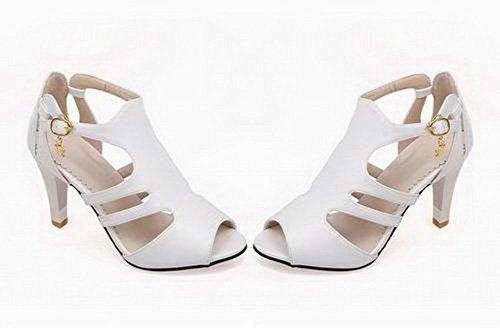 Haut Blanc Boucle Femme D'orteil Unie Ouverture à Couleur Sandales TSFLH006445 Talon AalarDom PH7xqIqA