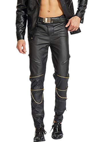 AITFINEISM Men's Slim Fit Zipper Gothic Punk Rock Faux Leather Pants (34) Black
