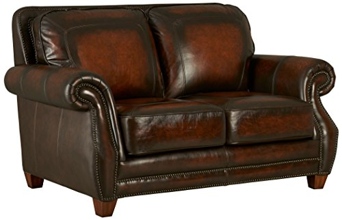 Standard Furniture Cordova Loveseat, 100% Top Grain Leather, Coffee Brown