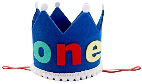 PoshPeanut One Baby Boys Felt Birthday Party Crown Hat Baby Kid to Toddler Size