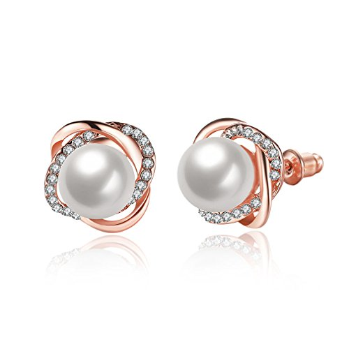 Iumer New Design Rose Pearl Earrings Stud Cubic Pearl Stud Earrings For Women (Gold Design Earrings)