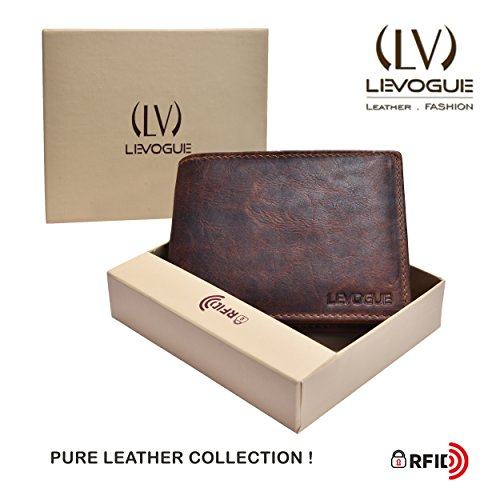 Genuine COW VINTAGE Leather RFID Blocking Handmade Bifold Wallet for Men 4 Credit card+1 ID Window+2 Note Compartment Minimalist Front Pocket Wallet- 100% Full Grain Cow Leather by LEVOGUE by LEVOGUE (Image #6)