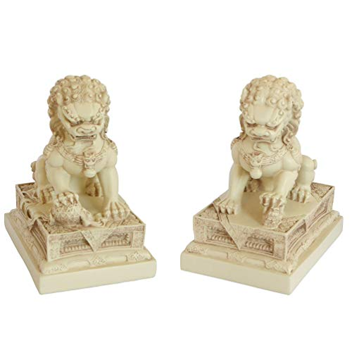 - Buddha Groove Chinese Foo Dogs Statues | Guardian Lion Statue with Cream-Colored Finish