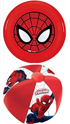 Kids Playtime Toddler Fun Beach Ball Lake Pool Frisbee Flying Disc Set of 2 Spiderman