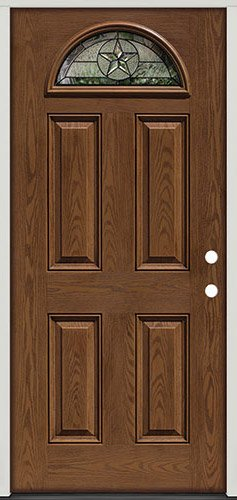 Fiberglass Front Door, Texas Star Fan Lite #35 Patina, Pre Finished Oak