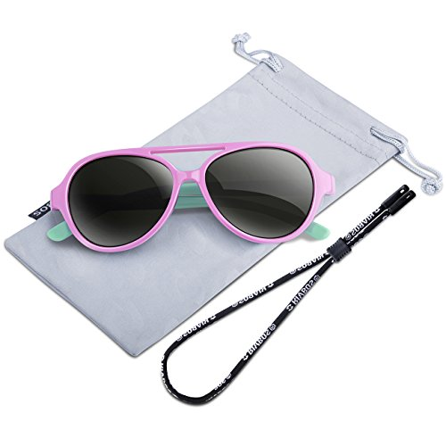 RIVBOS Rubber Kids Polarized Sunglasses With Strap Glasses Shades for Boys Girls Baby and Children Age 3-10 RBK023 (A pink)