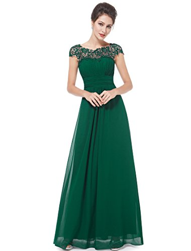 (Ever-Pretty Womens Cap Sleeve Lace Neckline Ruched Bust Evening Gown 14 US)