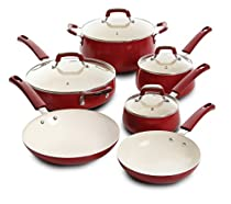 Leucadia 10pc Non-Stick Cookware Set , Red