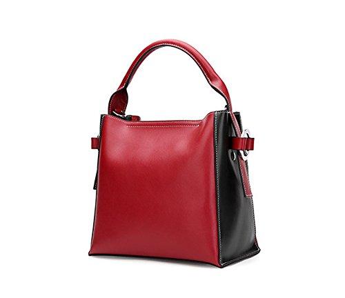 Otoño e Invierno XinMaoYuan Cowhide hombro bolsa bandolera Handmade señoras baldes Suave bolsa de cremallera Vino rojo con negro