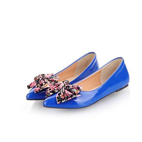 Pointed 50 30 47 blue 49 46 Sweet Single Ultra Shoes 32 Women'S Shallow 44 Code Shoes Flat 45 Mouth Bowknot Size QPYC 33 31 Leather Shoes Patent Student Leisure 48 4fXpwU