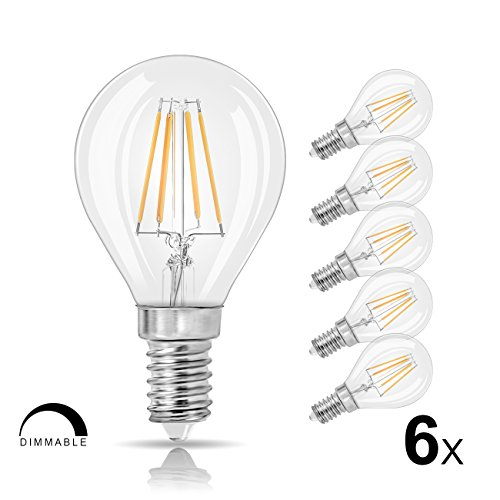 LVWIT G14 LED Globe Bulb E12 Candelabra Base,Dimmable 4W(40W Incandescent Equivalent) LED Filament Bulb, 2700K Warm White 420 Lumens, 6-Pack