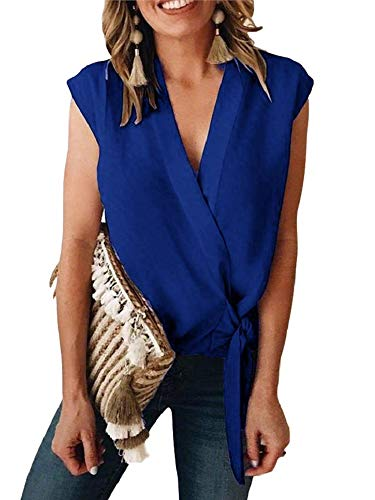 (Niitawm Womens Tie Knot Tank Tops Draped Wrap V Neck Cap Sleeve Sexy Summer Chiffon T-Shirt High Low Blouses)