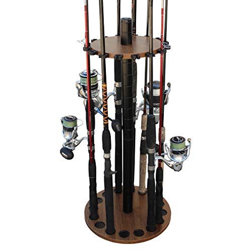 Rush Creek Creations 16 Round Fishing Rod/Pole Storage Floor Rack Dark Walnut Finish - Features Heavy Duty Steel Post - No Tool Assembly
