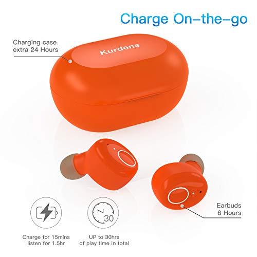 Kurdene Bluetooth Wireless Earbuds,Bluetooth Headphones with Charging Case Immersive Sounds IPX8 Waterproof Sport Mini Earphones Touch Control 24H Playtime Mic (Orange)