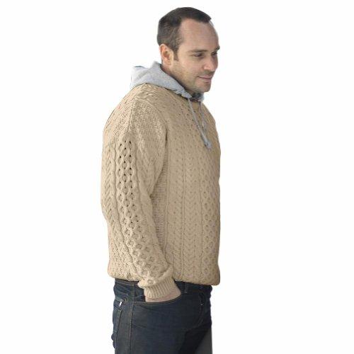 100% Irish Merino Wool Traditional Crew Neck Aran Sweater by Carraig Donn by The Irish Store - Irish Gifts from Ireland