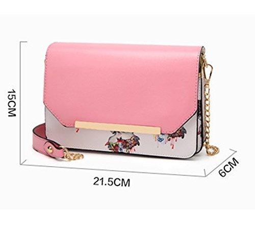 Frauen Fashion Schmetterling Schultertaschen PU Leder kleiner Kette Crossbody Handtasche Messenger Casual Tasche, rose (Pink) - BAGDJXKXFB-P Schwarz