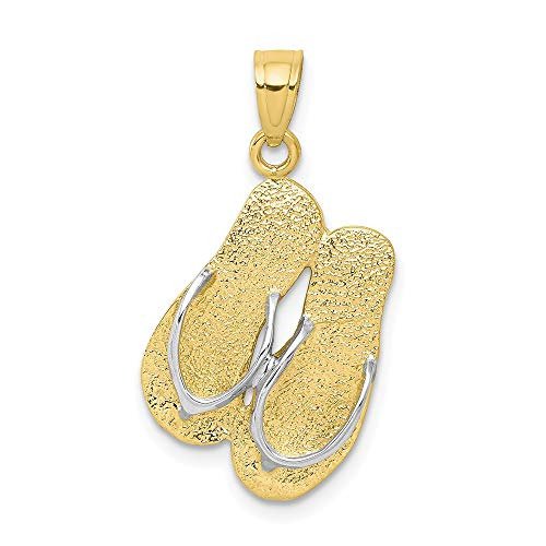 10k Yellow Gold Flip Flops Pendant Charm Necklace Sea Shore Sal Fine Jewelry Gifts For Women For Her