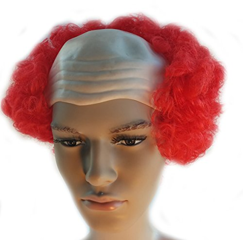 Red Bald Curly Clown Wig Scary Pennywise It Clown Wig for Adults and Children