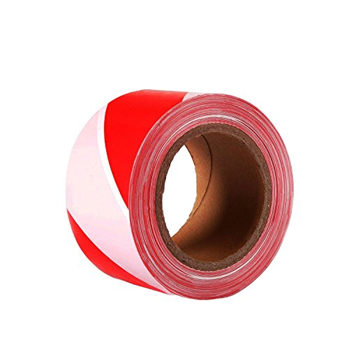 TopSoon Barricade Tape Striped Caution Tape Red and White Flagging Tape 2.8-Inch by 660-Feet Non-Adhesive