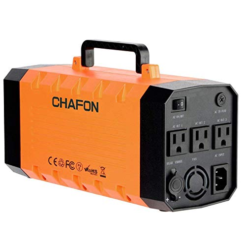 288WH Portable Generator UPS Battery Backup,Rechargeable Power Source Inverter with 110V/500W AC,12V Car,USB Ports for Camping -Orange