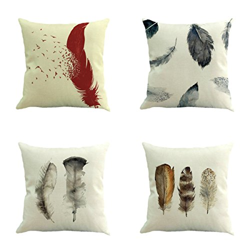 PENG Creative Life Printed Cushion Cover LivebyCare Linen Cotton Cover Throw Pillow Case Sham Pattern Zipper Pillowslip Pillowcase for Bed Room Sofa Couch Chair Back Seat,Set of 4 (Feather)