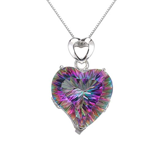 Fire Mystic Topaz Pendant Necklace For Women Charms Heart Necklace Rainbow Jewelry For Mom 18 Inch (Fire Red)