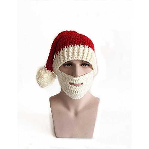 Easytop Red Winter Santa Hat Snow Ski Caps With Visor Party Accessory Outdoor Recreation Unisex lovers Warm Knitted Crochet Baggy Beanie Hat Cap Including White Masks (Junior Express Halloween 2017)