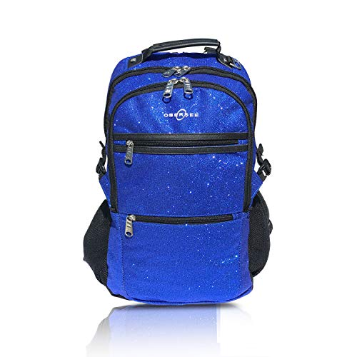 Sparkle Dance and Gymnastics Bag for Girls, Women, and Dancers, Comfy and Durable Backpack with Spacious Pockets and Laptop Compartment, Measures 7 in x 18 in x 12 in (Royal Blue) - Obersee