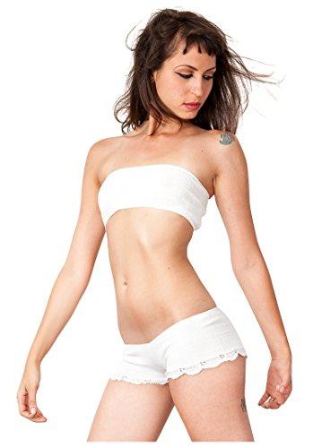 Cream Petite Lace Trimmed Bikini Shorts & Bare Belly Mini Tube Top KD dance New York Dancewear Loungewear Casual Lingerie Made In (Dance Belly Dancer Tank Top)