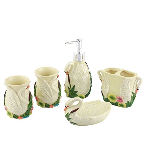 JruF White Swan Green Resin Bathroom Accessories 5 Piece Set 2 Tumbler, 1 Toothbrush Holder, 1 Soap Box, 1 Fashion Lotion Bottle,Hotel Clubhouse Bathroom Available