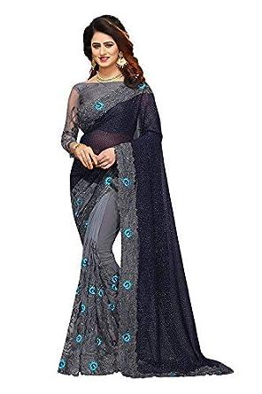 7aa9832de2 Anubhuti Sarees Women's Georgette & Net Saree With Blouse Piece ...