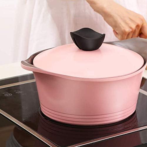 weiwei Poêle antiadhésive binaurale en céramique avec Couvercle Casserole à Lait Casserole Casserole à ragoût Pot à Soupe Couleur:Rose