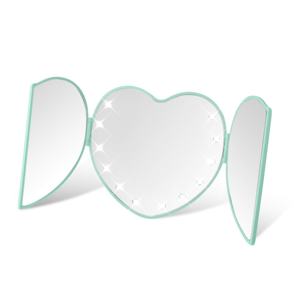 DUcare Lighted Tri-Fold Travel Makeup Mirror Heart Shape Folding Illuminating 8 Led Lights Green