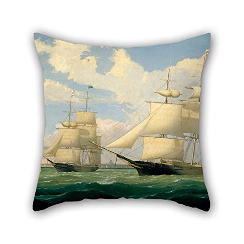 (Oil Painting Fitz Henry Lane - The Ships 'Winged Arrow' And 'Southern Cross' In Boston Harbor Pillowcover Best For Office Drawing Room Adults Relatives Bf Couch 20 X 20 Inches)
