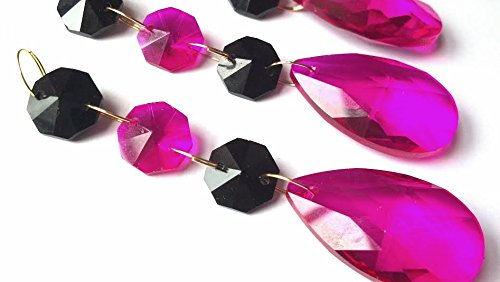 Chandelier Crystals Fuchsia Black Prisms Almond Ornaments Pack of 4