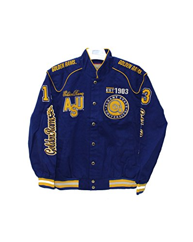 Big Boy Gear Albany State Golden Rams Crest and EST Date on Snap Racing Jacket by Big Boy Gear