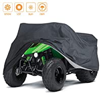Indeedbuy Waterproof ATV Cover, Heavy Duty Black Protects 4 Wheeler From Snow Rain or Sun,Integrated Trailer System