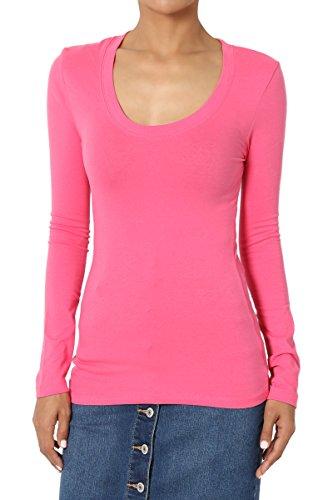 TheMogan Women's Basic Plain Solid Scoop Neck Long Sleeve T-Shirt Fuchsia (Girls Basic Scoop Neck Tee)