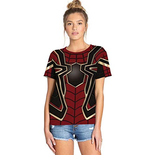 Szytypyl Womens Mens Superhero T-Shirts Iron Spider Costume Halloween Casual Shirt -