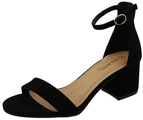 - Top Moda Women's Ankle Strappy Chunky Stacked Block Heel Open Toe Sandal,10 M US,Black