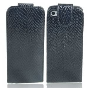 Snake Pattern Folding Leather Protective Case for iPhone 5/5S Black