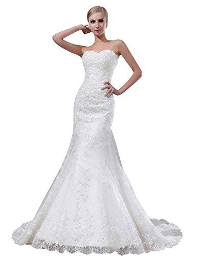Tidetell Sexy Mermaid Lace Over Satin Chapel Train Bridal Wedding Dress Ivory Size 24W