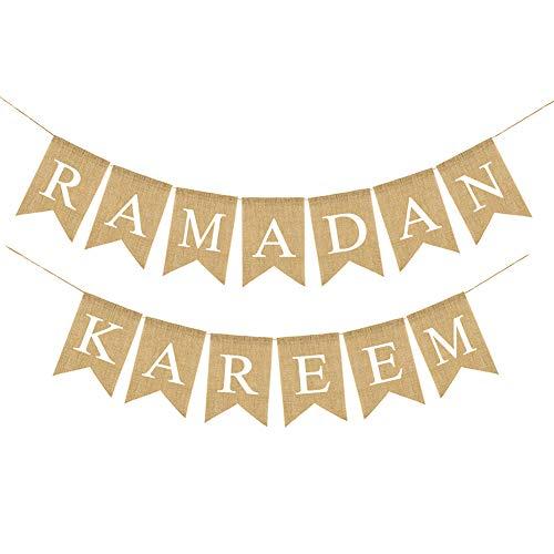 (Salemor Ramadan Mubarak Decorative Pull Flag Eid Mubarak Banner Decorations Moon Stars Linen Swallowtail Flag Eid Home Party)