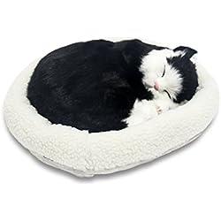 Signstek Breathing Sleeping Plush Kitty Cat Pet Black & White Shorthair